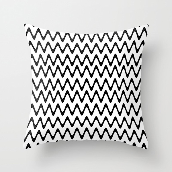 Black and White Rippled Stripes Indoor and Outdoor Throw Pillows Square and Rectangle
