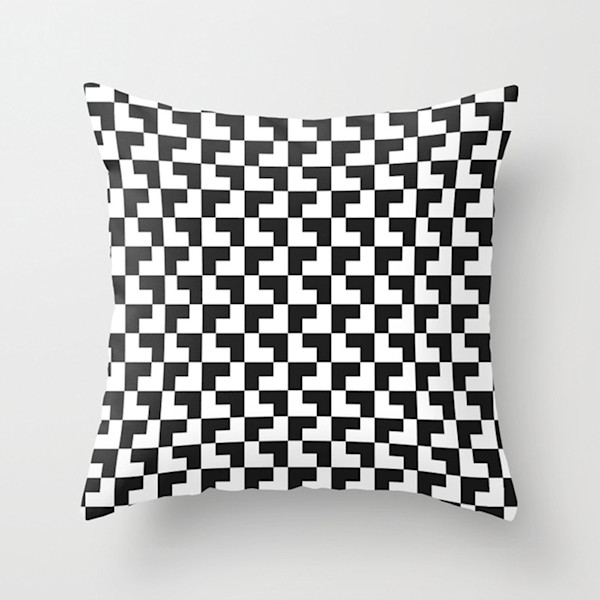 Black And White Tessellation Indoor and Outdoor Throw Pillows Square and Rectangle