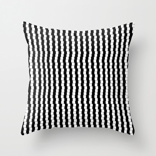 Offset Black And White Lines Indoor and Outdoor Throw Pillows Square and Rectangle