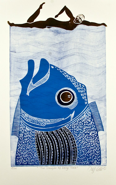 Fish and Beach, Original linocuts and etchings with fish, tropical fish and beach scenes.