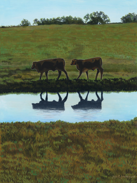 Painting of cow images reflected in a Texas pond, for sale as art prints.