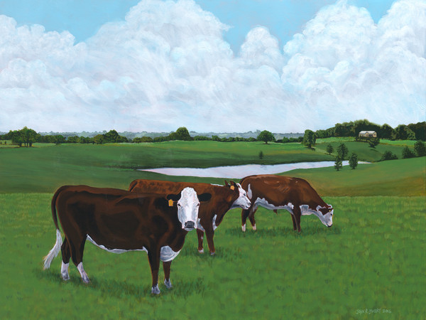 Original painting of three grazing cows in Texas landscape available as art prints.
