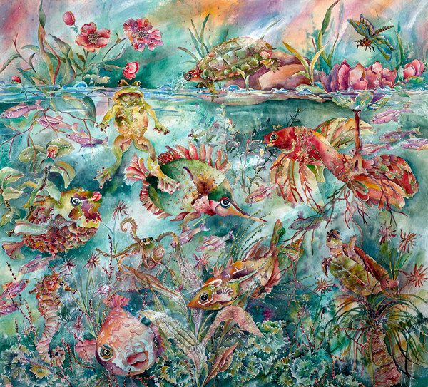 Gayle Faulkner artist, animals, fish, pond, coral reef, ocean, turtles, frogs, mixed media, watercolor, water color