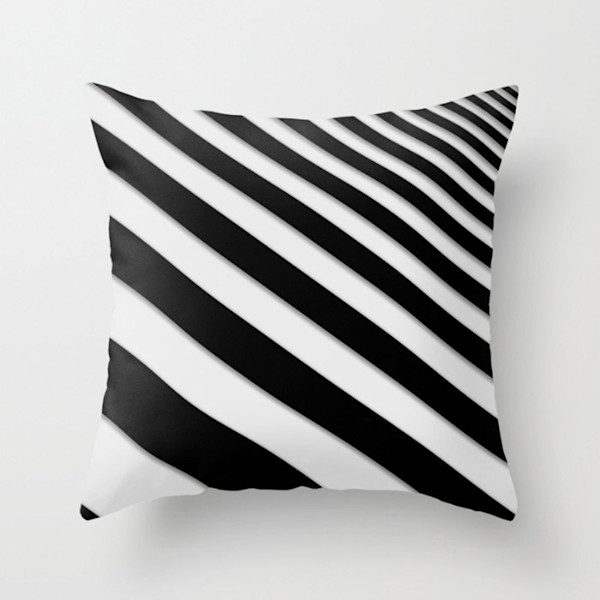 Perspective Solid Lines Black and White Indoor and Outdoor Throw Pillows Square and Rectangle