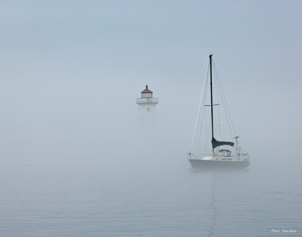 grand marais, harbor, fog, sailboat, minnesota