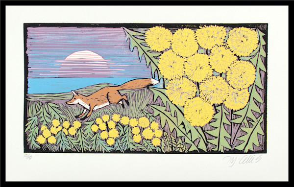 The orange fox runs across the landscape in this original linocut. My wall art often includes wild animals and landscapes. Dandelion art print, art, painting