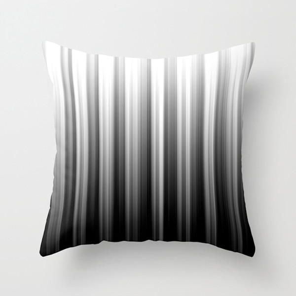 Black And White Soft Lines Indoor and Outdoor Throw Pillows Square and Rectangle