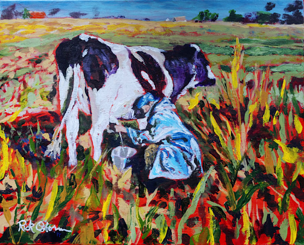 Milknificent Cow Print | Painting of Black and White Cow Being Milked