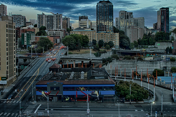 A Fine Art Photograph of Downtown Seattle From Above by Michael Pucciarelli