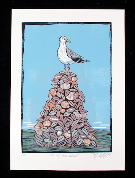 Seagull linocut wall art. Seagull on top of a heap of seashells. Beach scene with seagull. art, painting