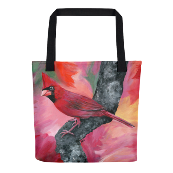 Colorful tote bags with original artwork Hello Cardinal by Mary Anne Hjelmfelt printed on them.