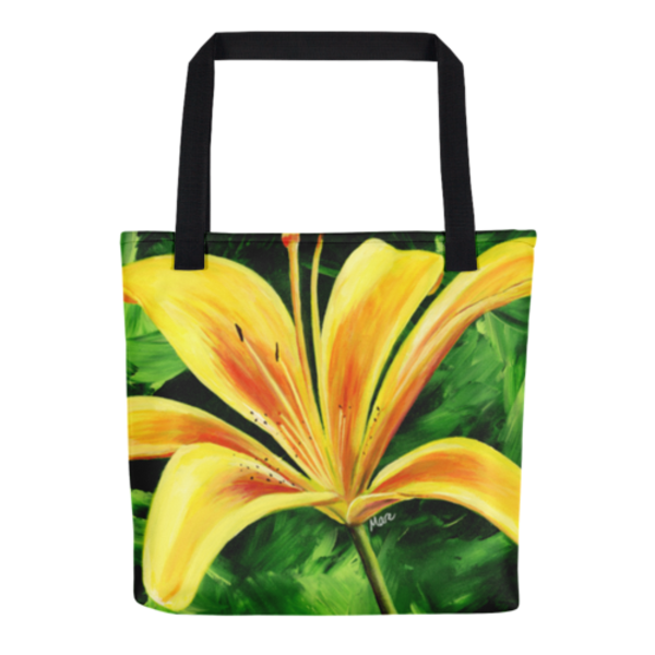 Colorful tote bags with original artwork Day Lily by Mary Anne Hjelmfelt printed on them.