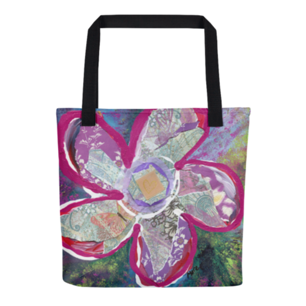 Colorful tote bags with original fine art by Mary Anne Hjelmfelt printed on them.