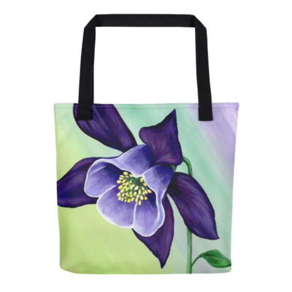 Colorful tote bags with original artwork Graceful Columbine by Mary Anne Hjelmfelt printed on them.
