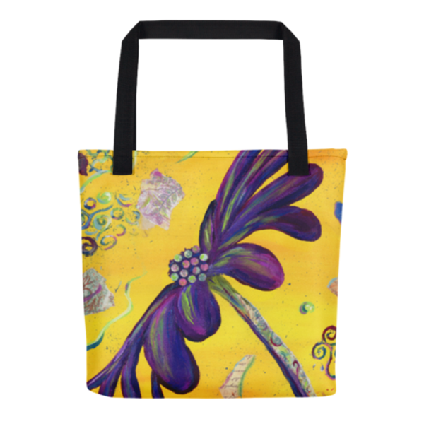 Colorful tote bag with original artwork Party Daisy by Mary Anne Hjelmfelt printed on them.