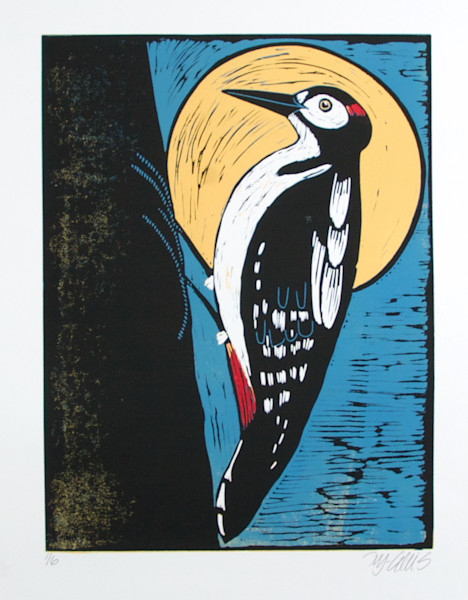 Woodpecker art print in relief against a full moon. Linocut with woodpecker in bold colors. art, painting
