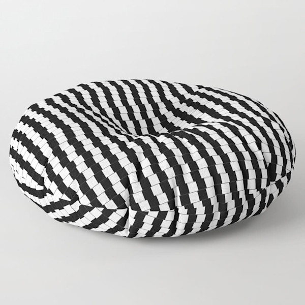 Offset Black And White Lines Square and Round Floor Pillow