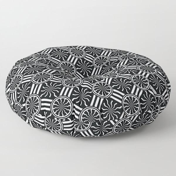 Wavy Black& White Diamond Pinwheels & Stripes Square and Round Floor Pillow