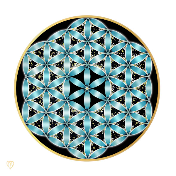 Flower of Life - Turquoise-White