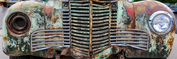 Panorama old chevy front grille art photography
