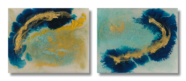 Diptych of Two Paintings - Work in Series -Fleeting Moments 1 and Fleeting Moments 2 - Douglas Fischer Art
