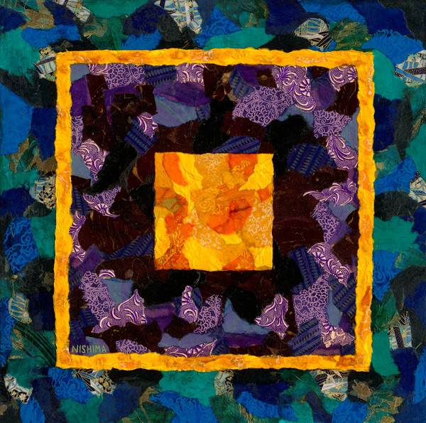 Colorful Abstract Squares and Rectangles Prints created with Torn Paper Collage by Nishima