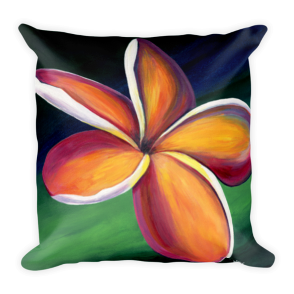 Colorful square pillow with Dancing Plumeria artwork by Mary Anne Hjelmfelt printed on it.