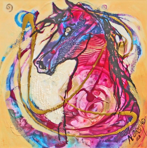 Original abstract horse painting in acrylics/mixed media on framed wood panel, wired for hanging