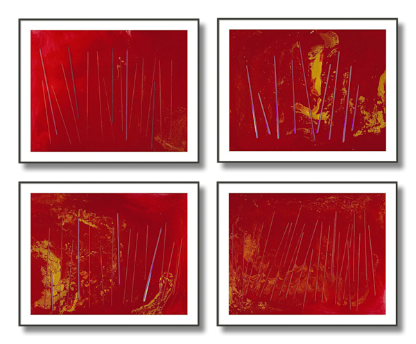Quadriptych of 4 Paintings - Work in Series - In My Heart 1-4 - Douglas Fischer Art