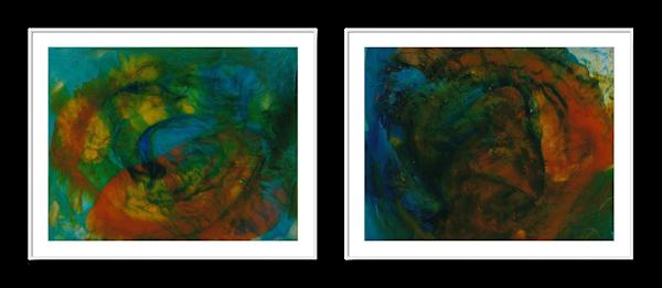 Diptych of two Paintings - Work in Series - Divine Design 1, 2 - Douglas Fischer Art