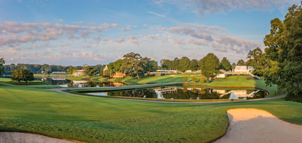 East Lake Golf Club's 9th hole and clubhouse, taken just before the 2016 FedEx Cup