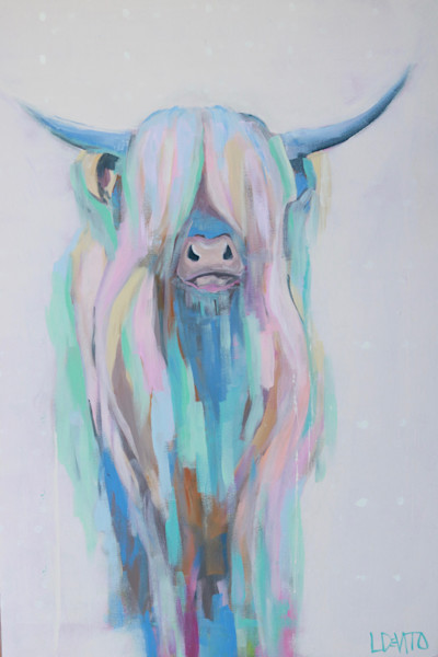 Lesli devito original painting highland cow rainbow colors emily