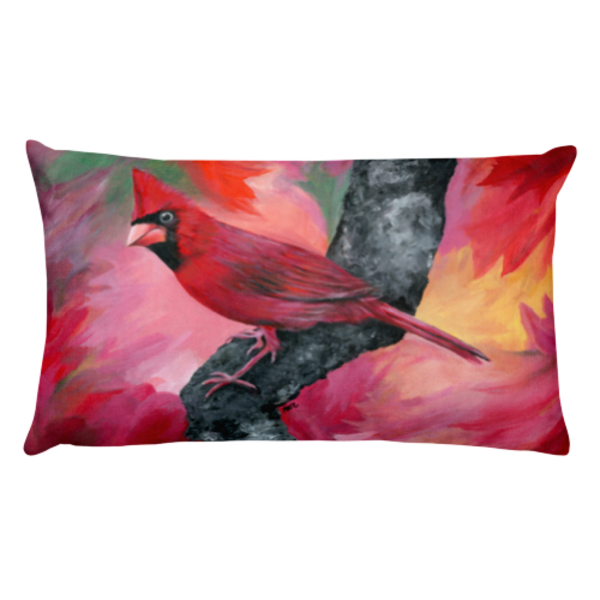 Fine art by Mary Anne Hjelmfelt printed on a stylish rectangular pillow - male red cardinal
