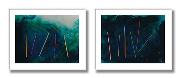 Diptych of Two Paintings - Work in Series -Exposed Thoughts 1 and Exposed Thoughts 2 - Douglas Fischer Art