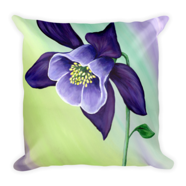 Colorful, soft stylish pillow printed with original artwork Graceful Columbine by Mary Anne Hjelmfelt.