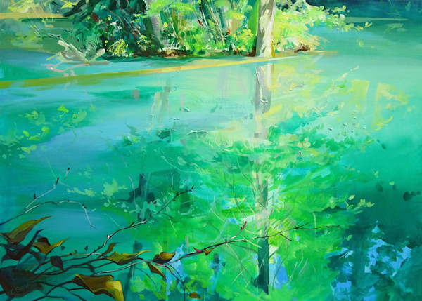Acrylic painting on canvas of Fawn Lake at Alice Lake Provincial Park