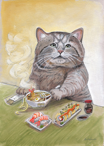 Paintings of your favorite cats and kittens, mostly eating sushi and being cute! Things that cats do best! Drawn and painted with love and meow