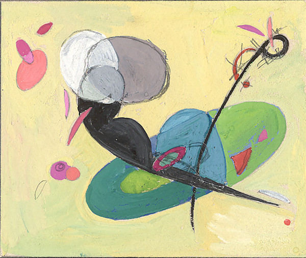 Rhythmic Ovals 1947, gouache art study with verso; the painted image size is 4 x 3.25 inches not including border.