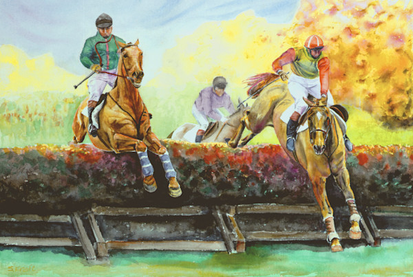 horse painting, cross-country by Susan Kraft on Zippity Art