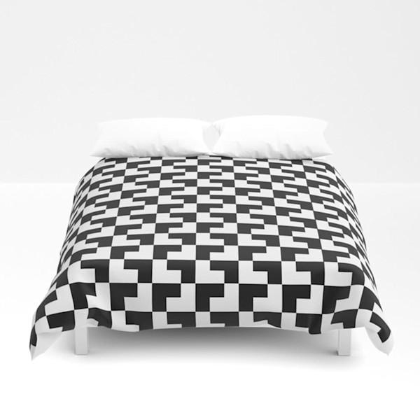 Black And White Tessellation Decorative Bedding
