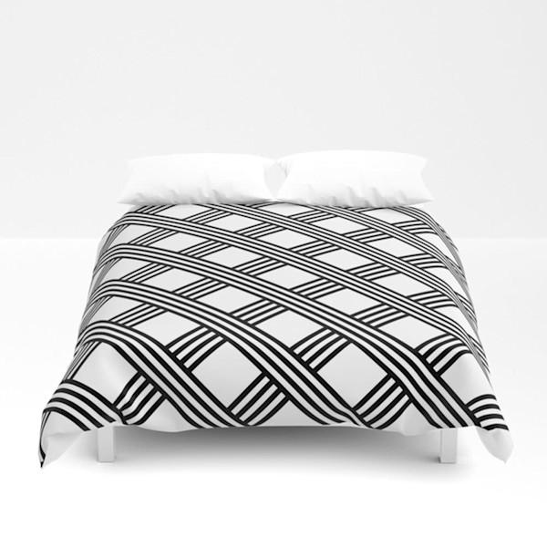 Diagonal Black and White Stripes Grid Decorative Bedding