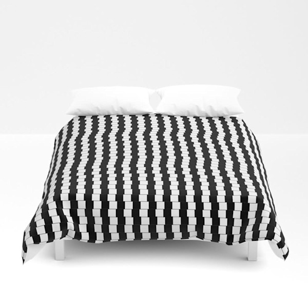 Offset Black And White Lines Decorative Bedding