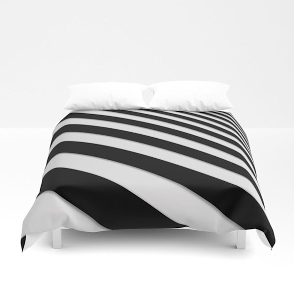 Perspective Solid Lines Black and White Decorative Bedding