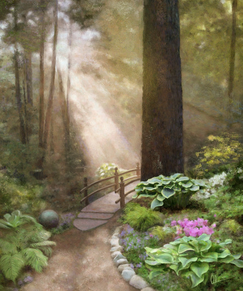 Woodland Sunshine is an art print of an original painting by the Artist, Mary Ahern.