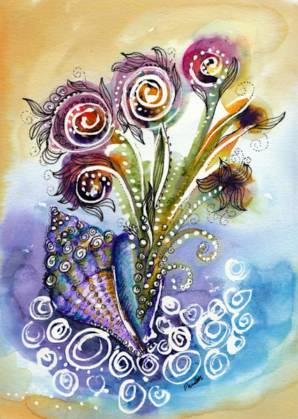 Florida watercolor abstract floral for sale | boudreau-art