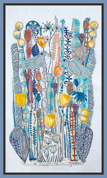 original linocut collage, mixed media with linocut, collage art, art, painting, blue and yellow floral collage by printmaker Mariann Johansen-Ellis