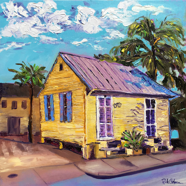 Creole Cottage Painting Print | Yellow and Purple New Orleans Small Cottage in Oil