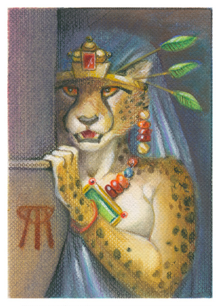 Secrets Overheard ACEO card with werecat eavesdropping.