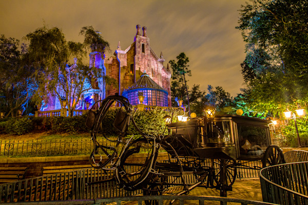 Disney's Haunted Mansion and Stage Coach Photograph for Sale as Fine Art