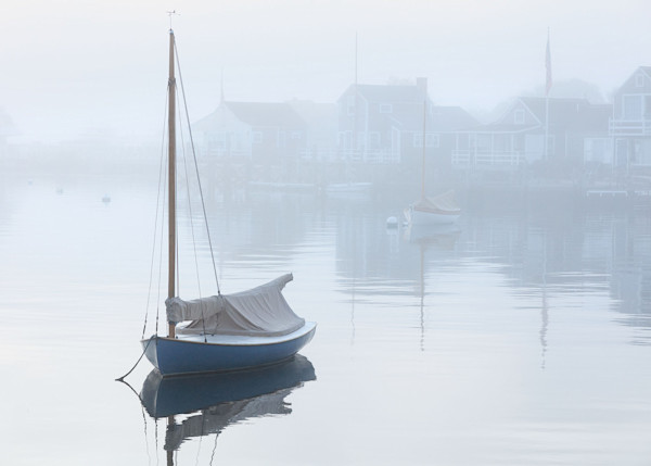 """Nantucket Harbor Foggy Dawn"" - Fine Art Boats in Fog Photography"